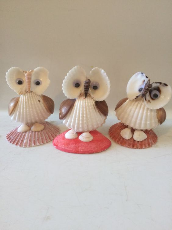 Sea shell Owl figurines by EnchantedSeaKingdom on Etsy