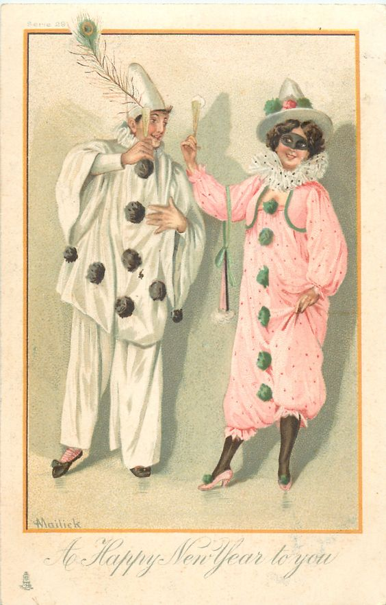 A HAPPY NEW YEAR TO YOU  Pierot & Pierette bow to each other: