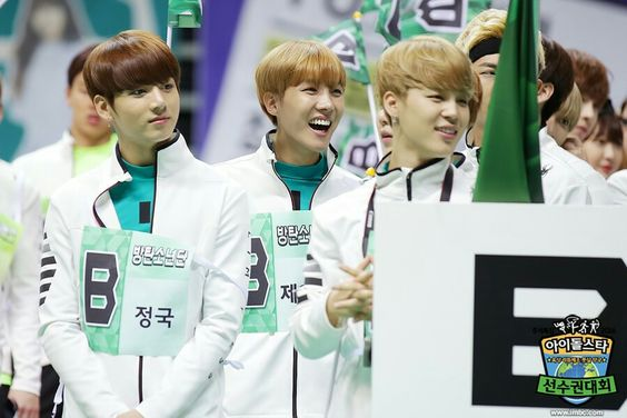 Jungkook, J-Hope and Jimin (that flag in front of NJs face tho.. Lets fight for…