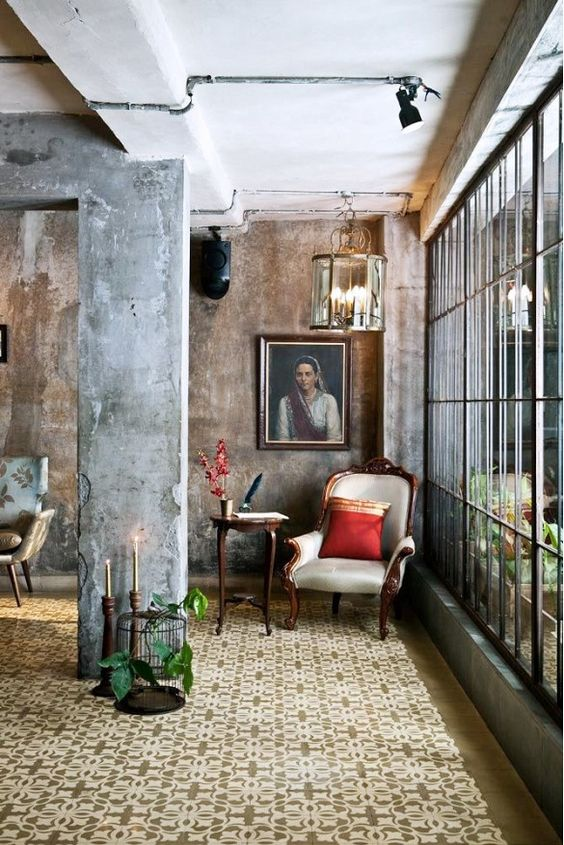 Exposed Concrete Walls Ideas Inspiration: Look We Love: Luxe Industrial