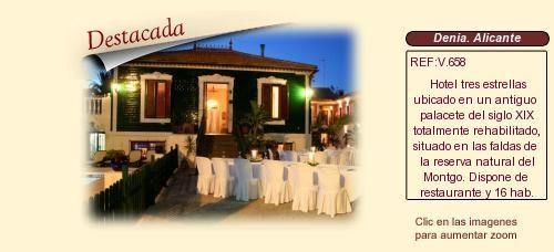 V658 Denia. Alicante Hotel con encanto en venta Palacios