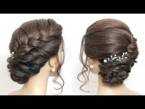 Braided Side Bun Updo Hairstyles For Long Hair Youtube Updostutorials In 2020 Side Bun Hairstyles Braid Updo Tutorial Side Braid Hairstyles