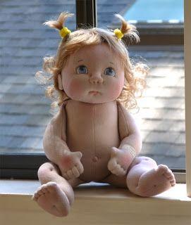 """Fretta: WIP:. Tamano naturales 48 cm / 19 """"Escultura suave del Bebé, Niños del Bebé del paño de la muñeca OOAK Textile Baby Doll"""
