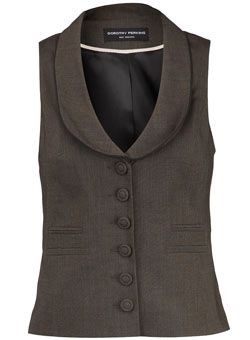 Dorothy Perkins Brown textured waistcoat stylish waistcoat with piping detail along lapels. 71% Polyester,26% Viscose,3% Elastane. Machine washable. http://www.comparestoreprices.co.uk/ladies-suits/dorothy-perkins-brown-textured-waistcoat.asp
