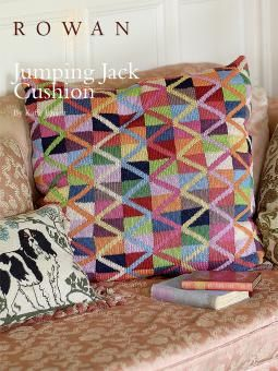 Jumping Jack Cushion. This free pattern by Kaffe Fassett is available to download from Rowan's website www.knitrowan.com