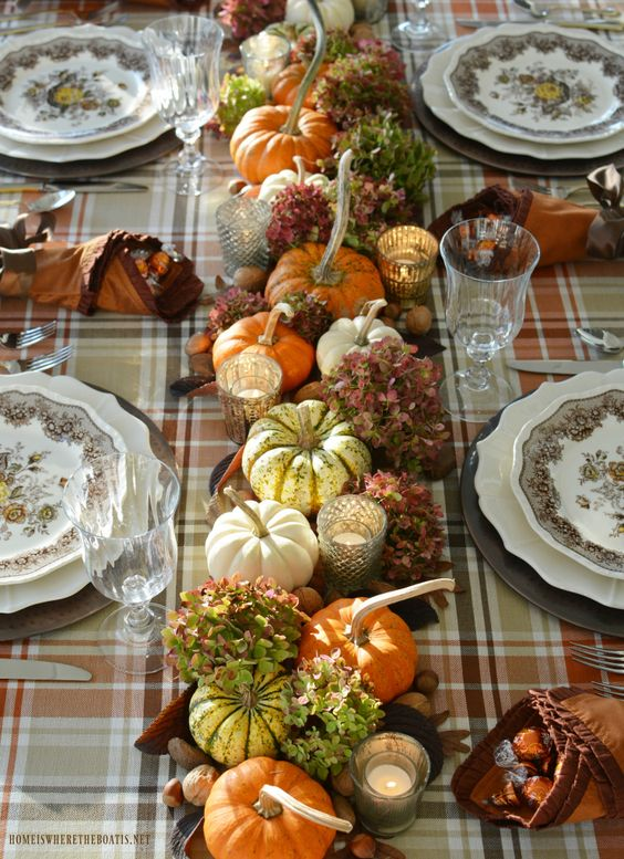 Fall table with transferware. plaid and organic centerpiece table runner with pumpkins and hydrangeas   © homeiswheretheboatis.net #tablescape #fall #thanksgiving