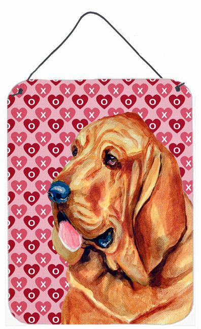 Bloodhound Hearts Love and Valentine's Day Portrait Wall or Door Hanging Prints