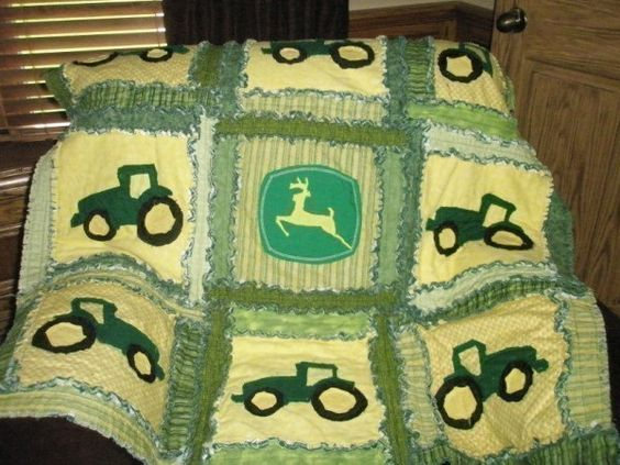 Rag Quilt Pattern Tractor Applique Sewing Baby Blanket