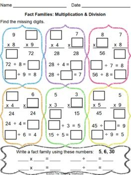 math worksheet : multiplication  division  multiplication division and  : Fact Families Multiplication And Division Worksheet
