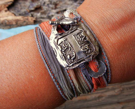 Wax Seal Jewelry, Silver Wax Seal Monogram Bracelet, Hand Stamped Initials, Custom Bracelet, Alphabet Jewelry, Silk Wrap Bracelet, Sunset