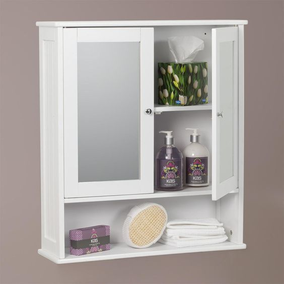 Carre Bathroom Mirror 2 Door Wall Cabinet   White Painted Finish  Inner 2 Shelves. Carre Bathroom Mirror 2 Door Wall Cabinet   White Painted Finish