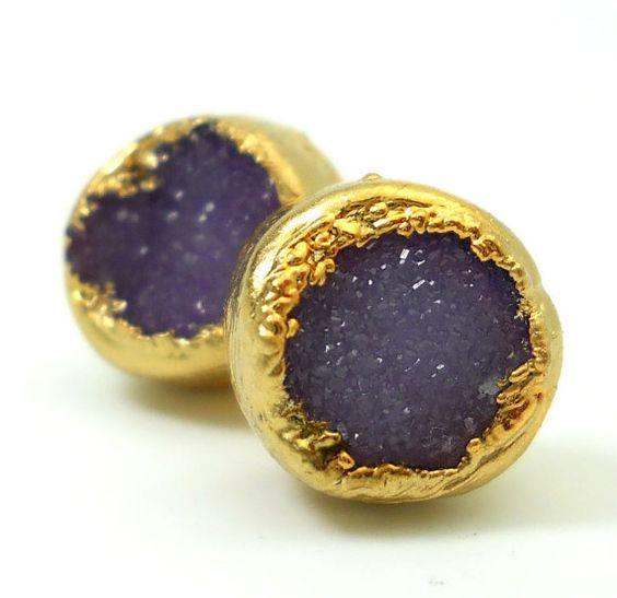 30 OFF SALE Eggplant purple druzy stud earrings by jennleedesign, $55.20