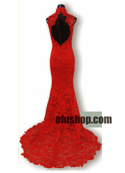 $560 - Red lace wedding dress - Custom-made Cheongsam,Chinese clothes, Qipao, Chinese Dresses, chinese clothing,EFU Tailor Shop