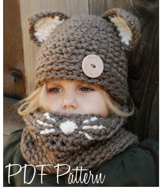 Crochet PATTERN-The Camille Cat Set (Toddler, Child and Adult sizes). When you wear your scarf on your nose...you look like a kitty ! OMG I want one! So original and cute! (even for grown up adults! lol):