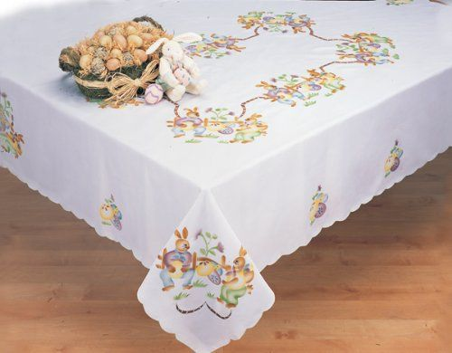 Easter Bunny White 68x84 Rectangular Spring Fabric Tablecloth Creative Linens Price 19 99 Tablecloth Fabric Spring Fabric Easter Bunny Eggs