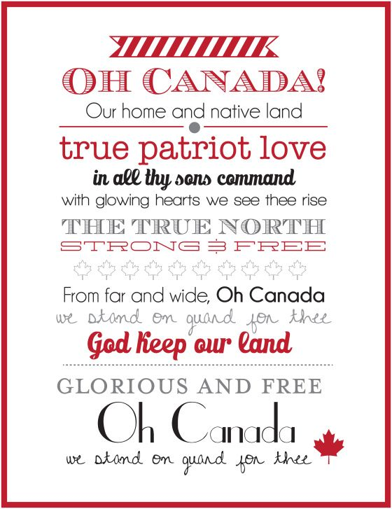Canada Day printable for scrapbooking, wall art, cards and more!