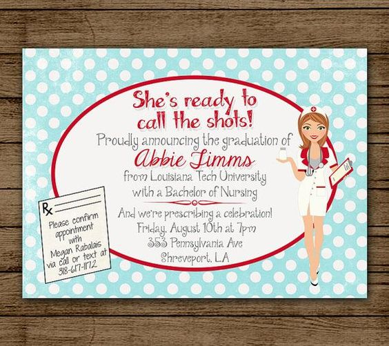 Medical Dr. / Nurse Graduation Party Ideas & Suggestions for 2014 -  				Customized Nursing Graduation Party Invitation, Invite