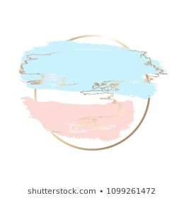 Pastel Blue And Blue Brush Strokes And Gold Lines Gold Round Contour Frame Watercolor Logo Instagram Highlight Icons Instagram Icons