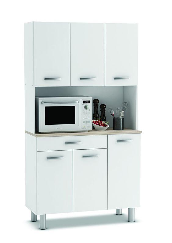 hochschrank pasta weiß - akazie küchenschrank küchenregal schrank