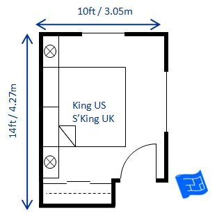 bedroom size. A small bedroom design for a king bed 10 x 14ft  The sliding doors on the wardrobe are important to be able access whole of
