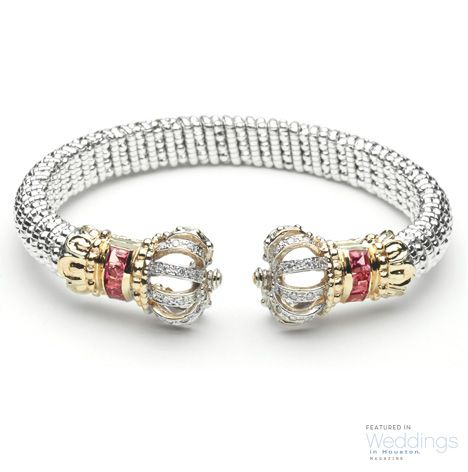 Gold, Silver, Diamond, & Pink Tourmaline Bangle from Vahan Jewelery