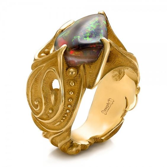 Custom Men's Black Opal and Yellow Gold Ring #100574