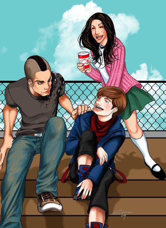 Glee Puck Kurt and Rachel