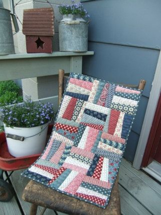 Americana Quilted Table Runner Patriotic by TreasuredPrimitives, $58.00