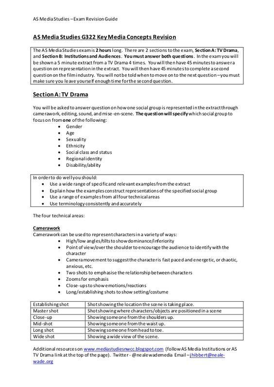 AS MediaStudies –Exam RevisionGuide Additional resourceson www.mediastudiesnwcc.blogspot.com (follow ASMediaInstitutions o...