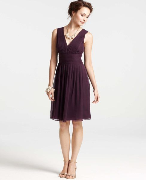 Silk Georgette Pleat Tank Dress (shown in Deep Damson also available in Blue Waltz and Classic Navy)