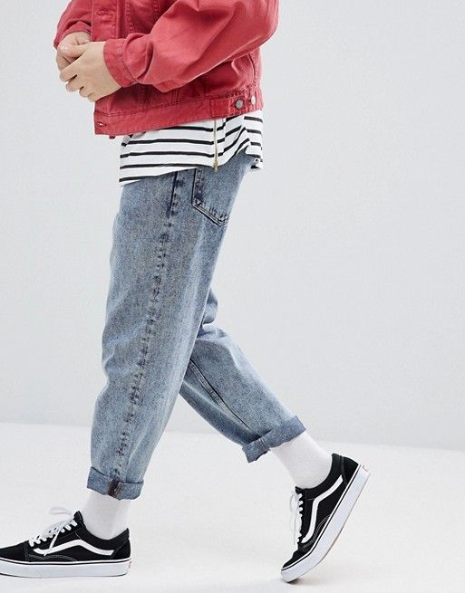 Asos Skater Fit Jeans In Vintage Light Wash Cool Outfits For Men Mens Outfits Streetwear Fashion