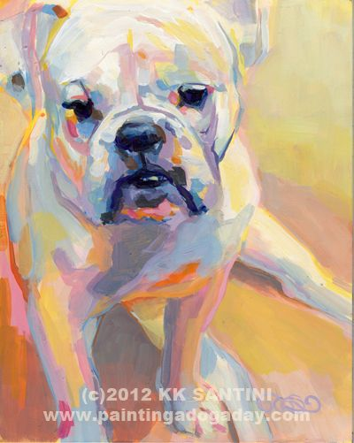 Painting a Dog a Day: Gus, painted pet portrait of a bulldog by Kimberly Kelly Santini