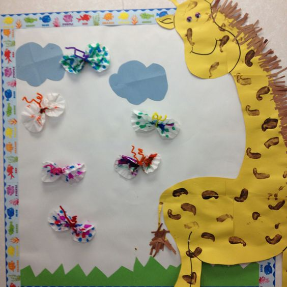 "Our giraffe board for the ""giraffe"" room!"