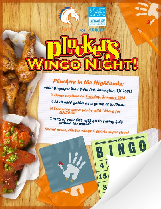 Social Event : Wingo Night at Pluckers in the Highlands; Tuesday, January 29th, 2013 @ 8pm