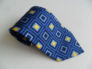 Bold Retro Print Blue Silk Tie