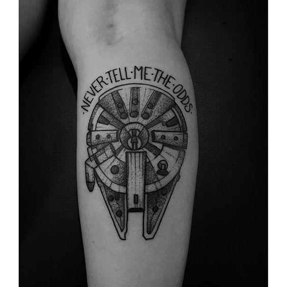 Millenium Falcon for Maria Eliza. Feliz como tatuador e fã em poder fazer essa. #tattoo #tatuagem ...: