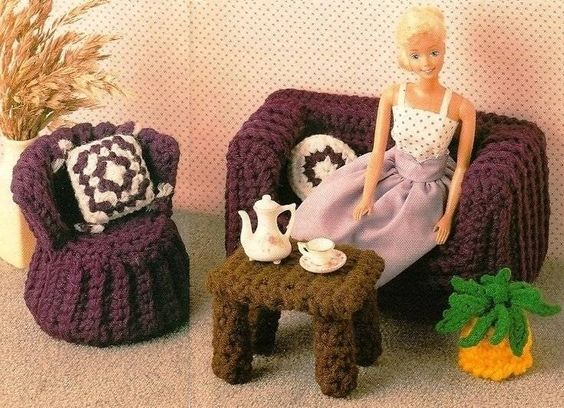 X694 Crochet PATTERN ONLY Sofa Table Chair & Plant Fashion Dolls or Barbie