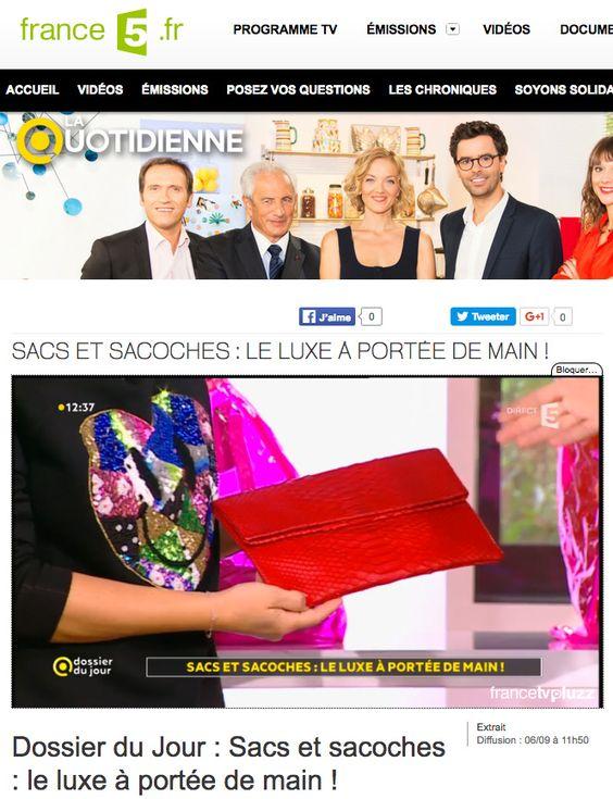 La Quotidienne France 5, émission spéciale sur les sacs à main ! – Le mag de…