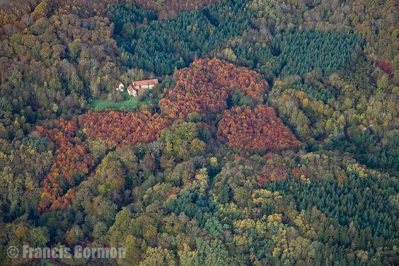 France, Bourgogne, Saône-et-Loire (71), paysages entre Autun et Le Creusot (vue aérienne)