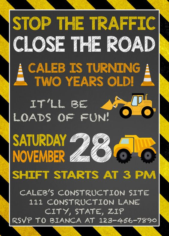Construction Birthday Invitation by LittleGermanBoutique on Etsy