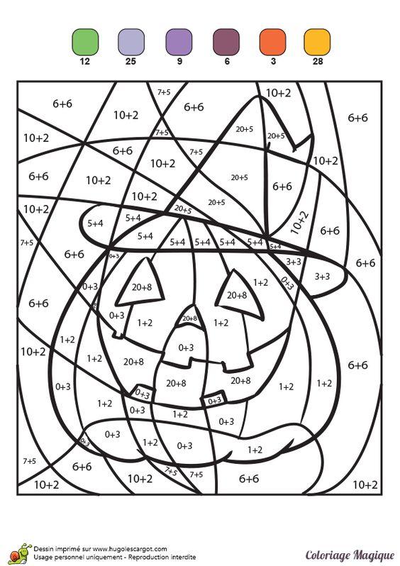 Coloriage magique additions une citrouille pour halloween - Citrouille halloween dessin ...