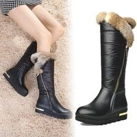 Genuine Leather Rubbit Fur 2015 Winter New Knee High  Snow Boots Women's Waterproof Boots   Thick Sole  40size 2color