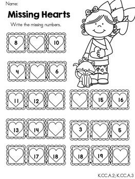 Valentine's Day Kindergarten Math Worksheets | The Missing ...