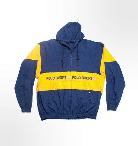 Vintage Ralph Lauren Polo Sport rain jacket. Navy Yellow