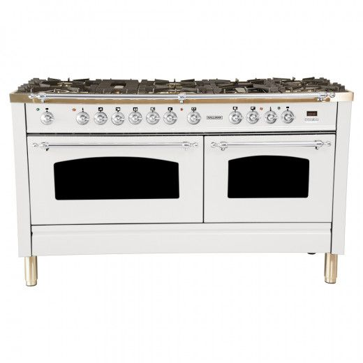 60 In 6 Cu Ft Double Oven Dual Fuel Italian Range With True Convection 8 Burners Griddle Lp Gas Chrome Trim In White Double Oven Kitchen Large Appliances Convection