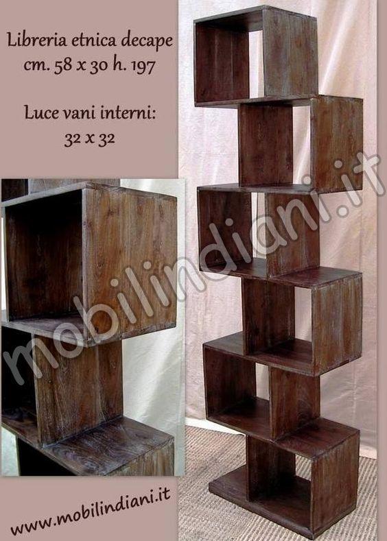 libreria-etnica-zig-zag-legno-decapato | librerie | Pinterest