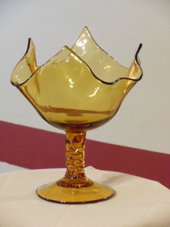 Amber Twisted Stem Handkerchief Compote Dish