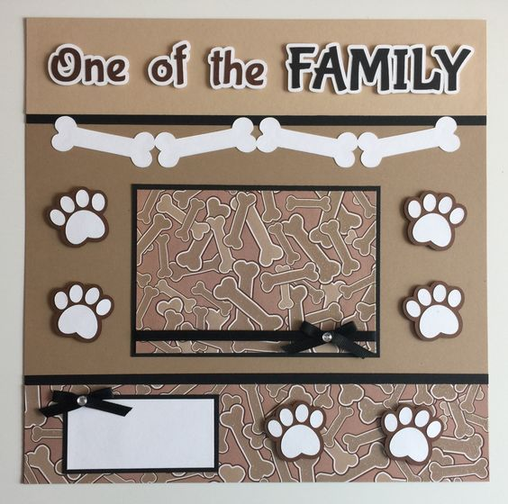 """Handmade Premade 12x12 """"DOG - One of the FAMILY"""" Scrapbook Page Layout by JuliesPaperCrafts on Etsy"""