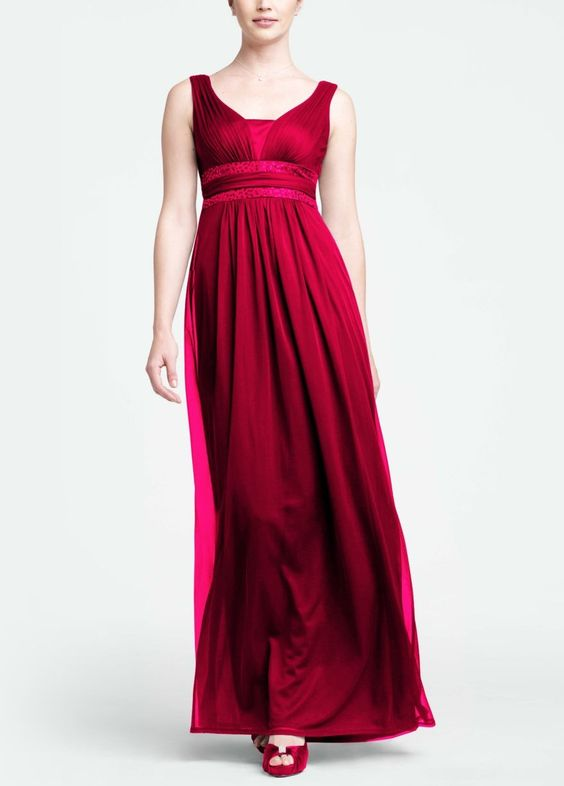Sleeveless Long Dress with Double Banded Detail Style F15136 Apple