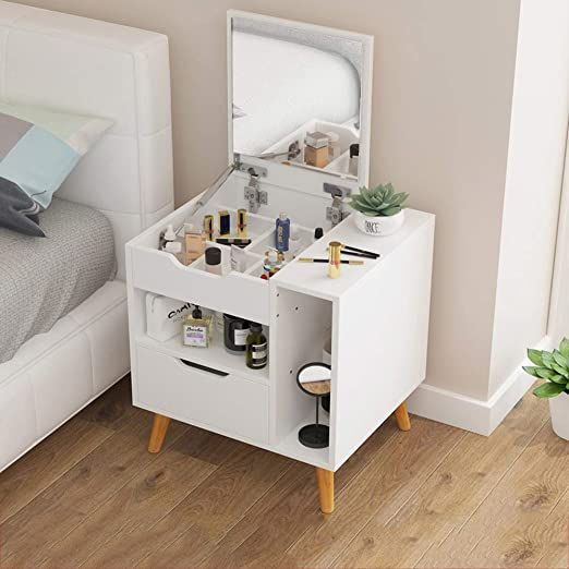 Pllxy Versatile Nightstand Vanity Table With Lighted Mirror Wood Side End Table Compact Bed Bedroom Night Stands Furniture Dressing Table Dresser As Nightstand